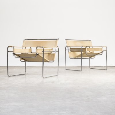 Marcel Breuer 'Wassily' B3 canvas chairs for Gavina
