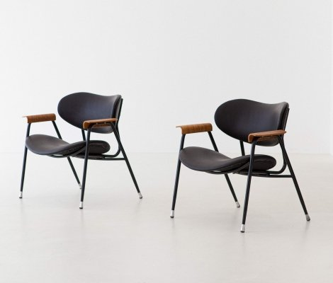 Pair of Italian Leather Armchairs by Gastone Rinaldi for RIMA