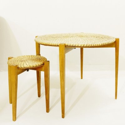 Pair Of Wooden Side Tables With Straw Top