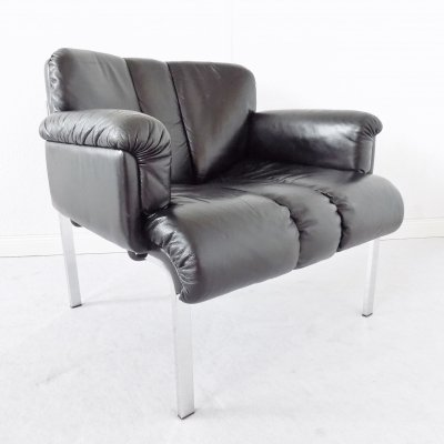 Girsberger Eurochair in Black Leather by Hans Eichenberger