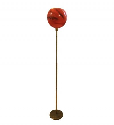Mid-Century Modern Adjustable Brass & Red Glass Italian Floor Lamp, circa 1950