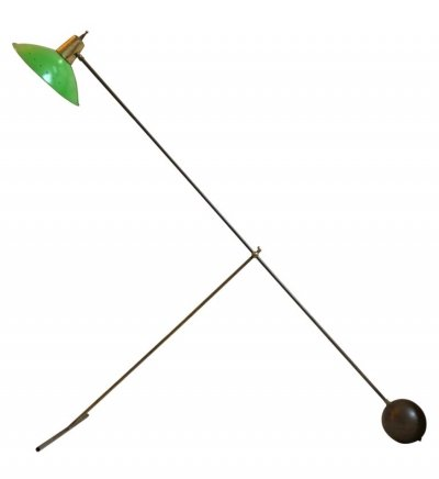 Mid-Century Modern Italian Brass & Green Metal Adjustable Floor Lamp, 1950