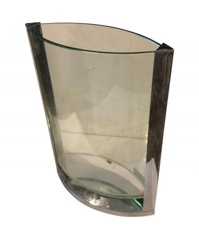 Modernist Italian Steel & Glass Vase, circa 1970