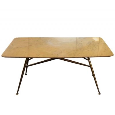 Mid-Century Modern Italian Yellow Marble & Brass Rectangular Coffee Table, 1950
