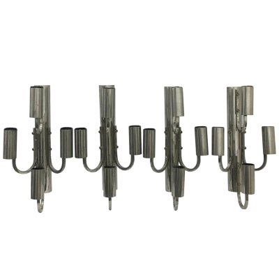 Set of 4 Space Age Italian Large Chrome Four Lights Wall Sconces, 1960