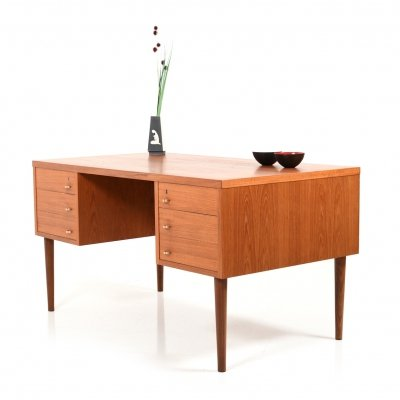 Mid Century Modern Danish Desk with Brass Handles