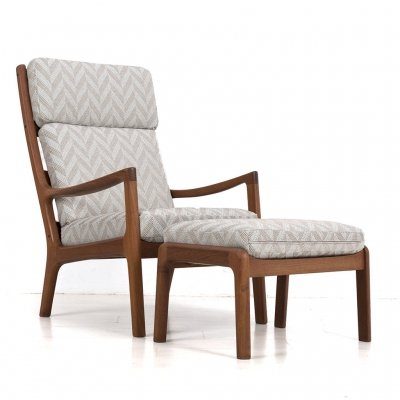 Senator chair with ottoman by Ole Wanscher for Cado, 1970s