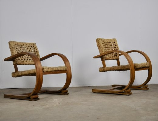 2 x Lounge chairs by Adrien Audoux & Frida Minet for Vibo Vesoul, 1940s
