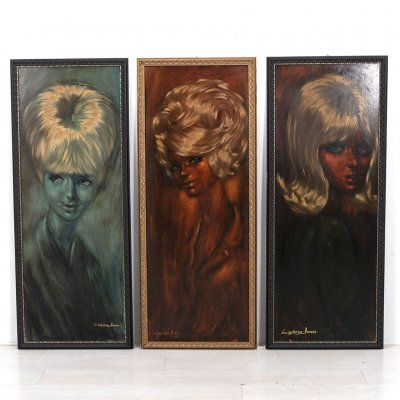 Set of 3 Original oil on board paintings by Leighton Jones, 1970s