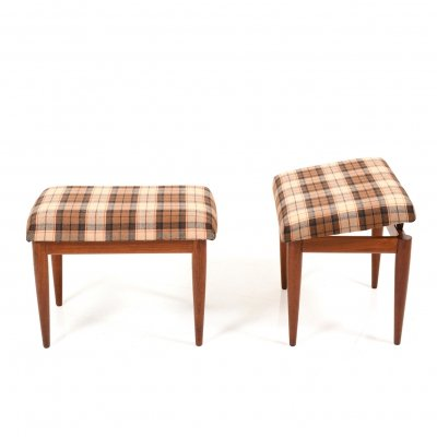 Pair of Danish liftable Footstools in Teak