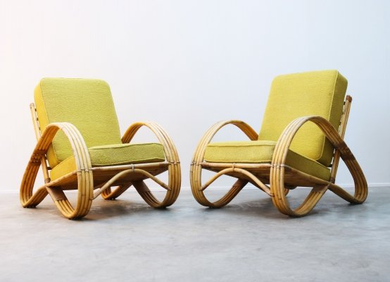 Pair of Rattan lounge chairs by Rohe Noordwolde, 1950s