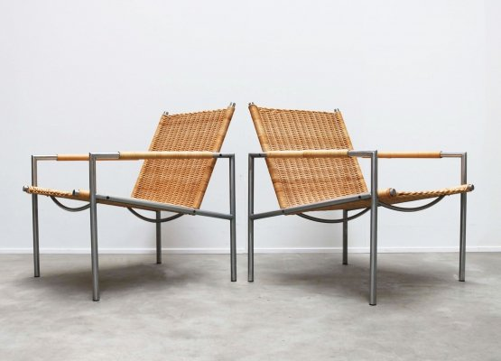 Pair of rattan & chrome SZ01 lounge chairs by Martin Visser for Spectrum, 1960