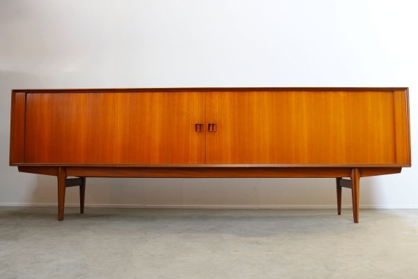 Sideboard with tambour doors in teak by Oswald Vermaercke for V-Form, 1950