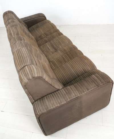 Rare leather patchwork sofa by Ernst Lüthy (before the brand De Sede was invented)