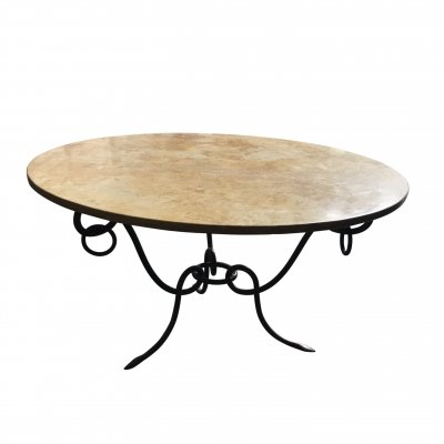 Wrought iron coffee table by René Drouet