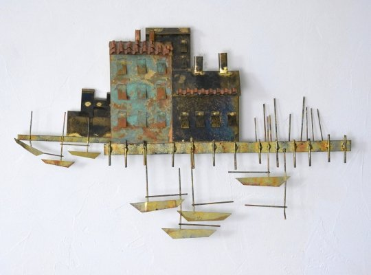Brutalist 'Mediteranian Harbor Village' wall sculpture by Curtis Jere