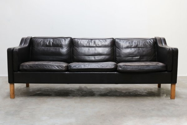 Danish black leather model 2213 sofa by Borge Mogensen for Fredericia, 1960