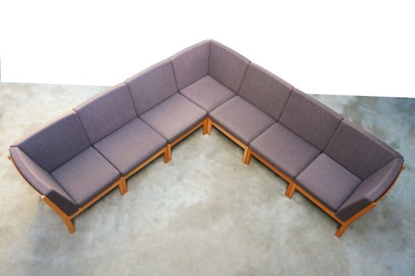 Very large Danish solid oak modular sofa GE280 by Hans J. Wegner for Getama, 1980s