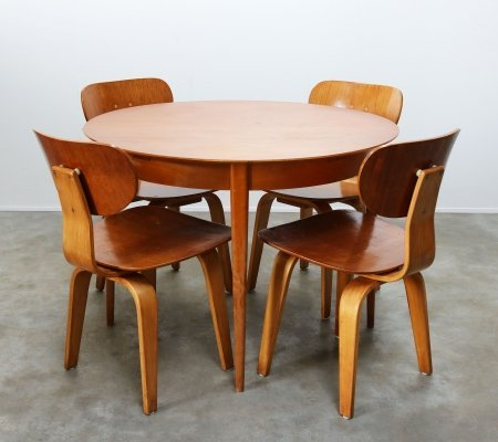 Dutch design dining room set in Birch & Teak by Cees braakman for Pastoe, 1950
