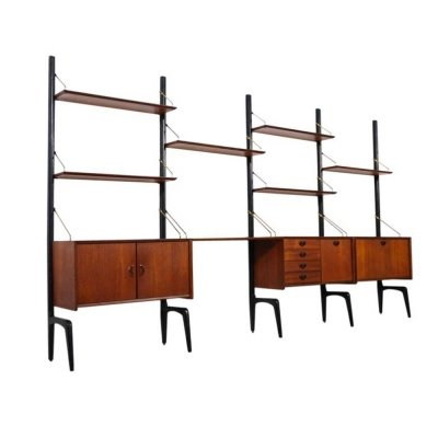 Dutch design modular wall unit in teak & brass by Louis van Teeffelen for Webe