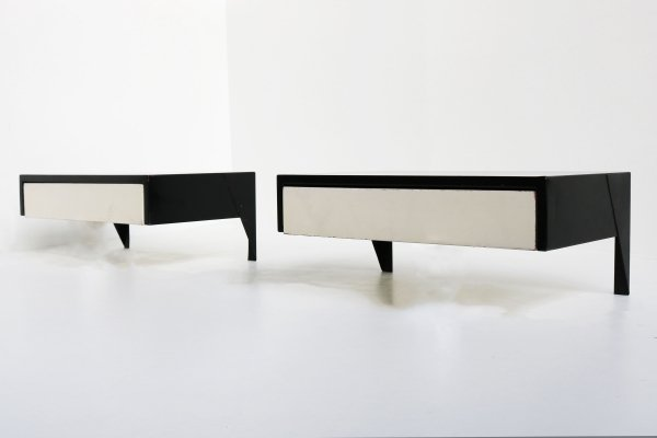 Rare pair of DD01 drawer units in Black & White by Martin Visser for Spectrum, 1950