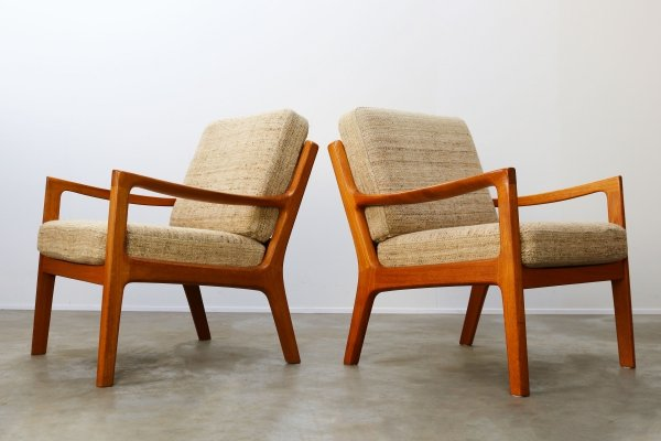 Pair of Senator lounge chairs in teak by Ole Wanscher for P. Jeppesen, 1950