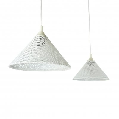 Pair of perforated metal cone shaped pendants, 1980s