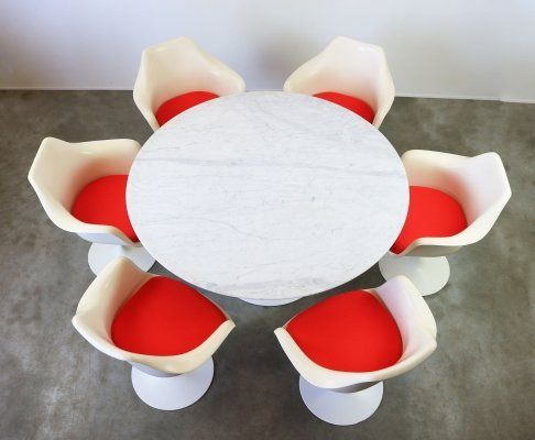 Large Tulip dining set in Marble by Eero Saarinen for Knoll International, 1960