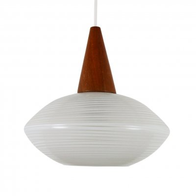 3 x Teak & Glass pendant light, 1960s