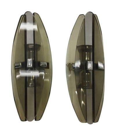 Set of Two Italian Modernist Elliptical Brown glass Wall Sconces by Veca, 1970