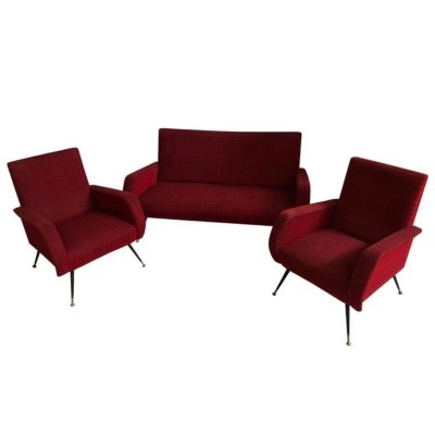 Mid-Century Modern Red fabric Sofa & Armchairs, Italy circa 1950