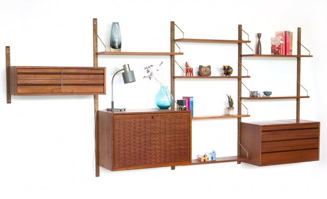 Vintage Danish Poul Cadovius wall unit with brass holders