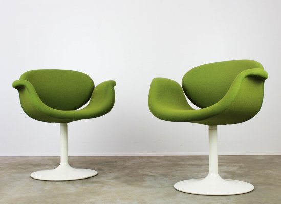 Pair of Little Tulip chairs in green by Pierre Paulin for Artifort, 1960s