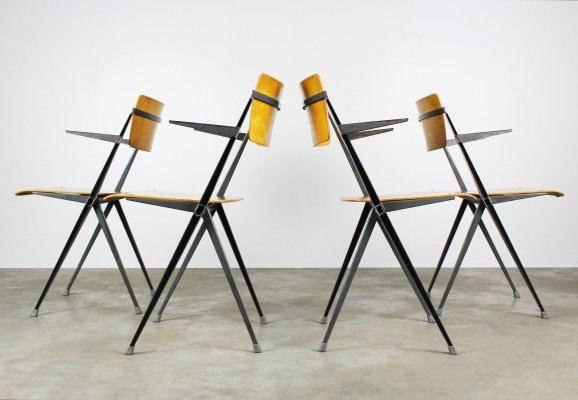 Set of 4 'Pyramid chairs' armchairs by Wim Rietveld for Ahrend de Cirkel, 1963