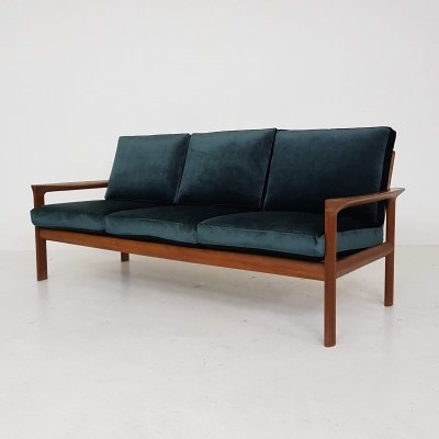 Green Velvet Three-Seat Sofa by Sven Ellekaer for Komfort, Denmark 1960s