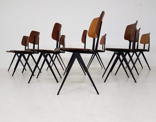 Set of 10 Galavanitas S16 Industrial Plywood School Chairs, Dutch Design 1960s