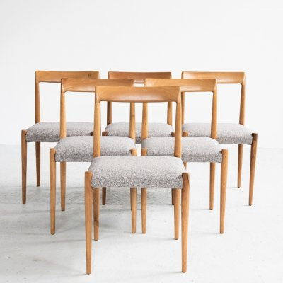 Set of 6 solid wood dining chairs by Lübke, 1960s
