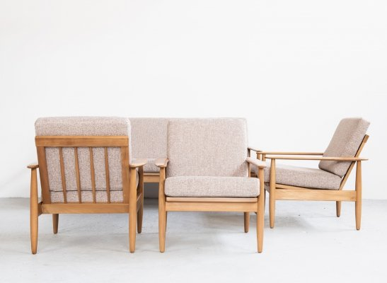 Danish seating group with 1 sofa & 3 easy chairs in beech, 1960s