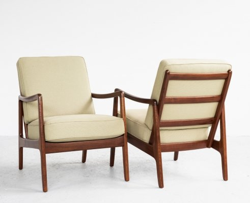 Danish pair of easy chairs in teak by Ole Wanscher for France & Son, 1960s