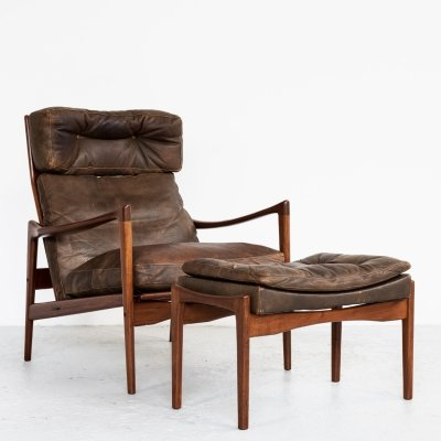 High back easy chair & ottoman in teak & leather by Ib Kofod Larsen, 1960s