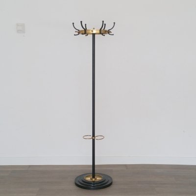 Brass & Metal Coat Stand by Jacques Adnet, 1950s