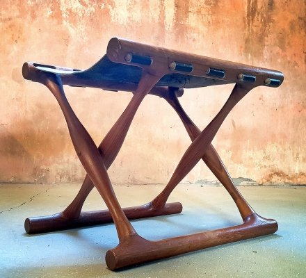 Poul Hundevad Model PH41 Guldhoj Folding Stool in Teak & Leather, 1958