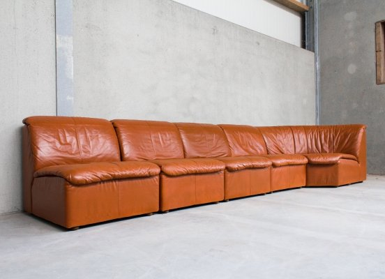 Large Modular Sofa in Cognac Leather