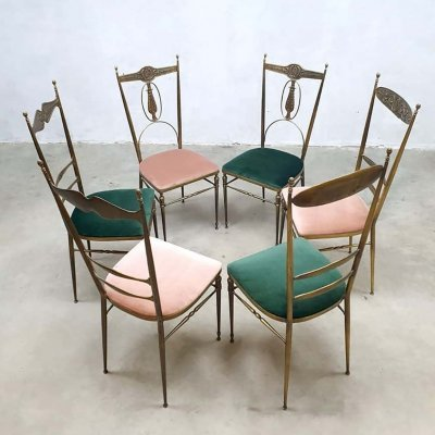 Set of 6 vintage brass Italian design Hollywood Regency dining chairs