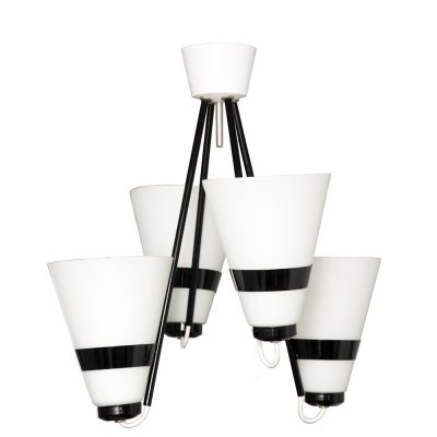 Modernist black & white ceiling lamp by A. Gałecki, Poland 1970s