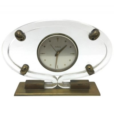 Mid-Century Modern Italian Plexiglass & brass Table Clock by Italora, 1950