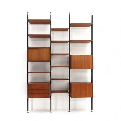 Midcentury wooden & black metal Italian wall unit, 1960s