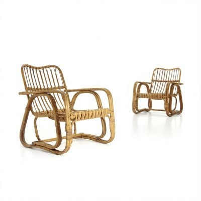 Pair of midcentury wicker / rattan armchairs, 1950s