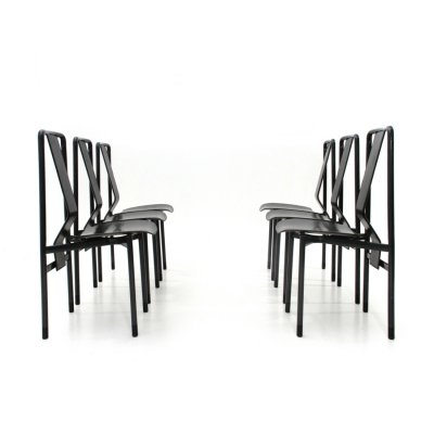 Set of 6 Midcentury black 'Irma' chairs by Achille Castiglioni for Zanotta, 1970