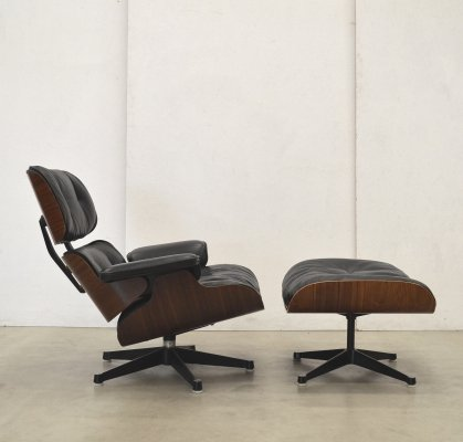 Eames Lounge Chair Ottoman In Brown Grey Leather
